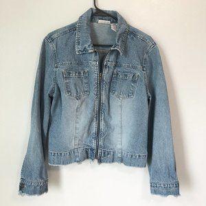 Vintage FADED GLORY Raw Hem Zip Up Jean Jacket